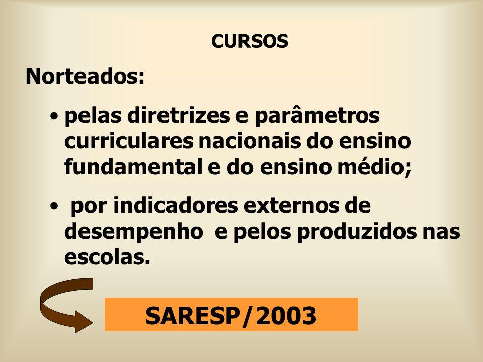 CURSOS Norteados: pelas diretrizes e parâmetros curriculares nacionais do ensino fundamental e do ensino médio;