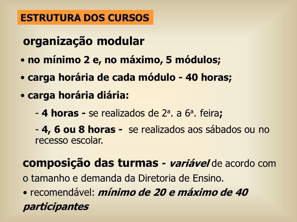 ESTRUTURA DOS CURSOS organização modular. no mínimo 2 e, no máximo, 5 módulos; carga horária de cada módulo - 40 horas;