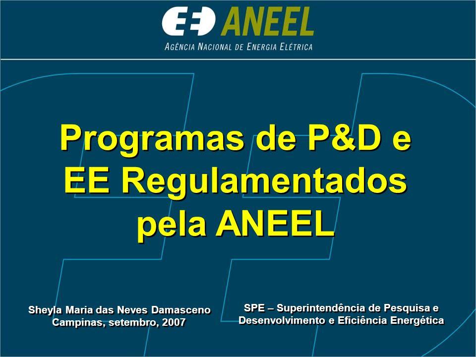 Programas de P&D e EE Regulamentados pela ANEEL