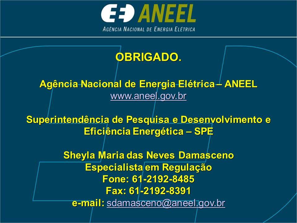 OBRIGADO. Agência Nacional de Energia Elétrica – ANEEL