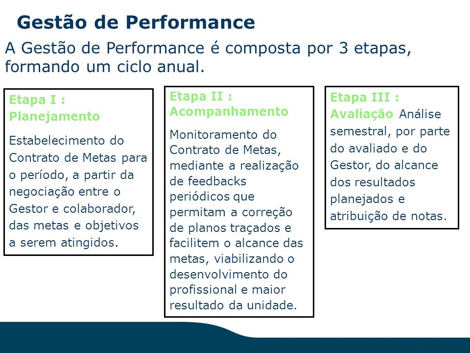 Gestão de Performance A Gestão de Performance é composta por 3 etapas, formando um ciclo anual. Etapa I : Planejamento.