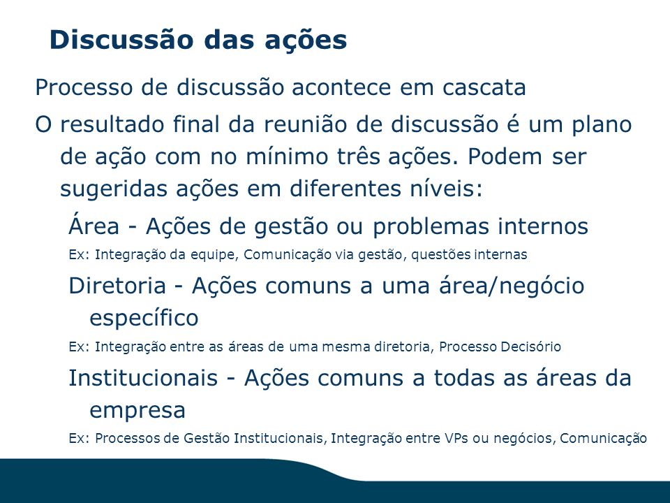 Discussão das ações Processo de discussão acontece em cascata