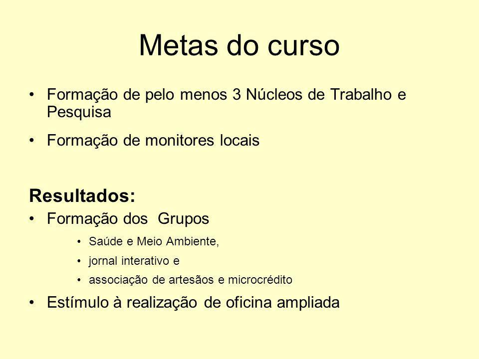 Metas do curso Resultados: