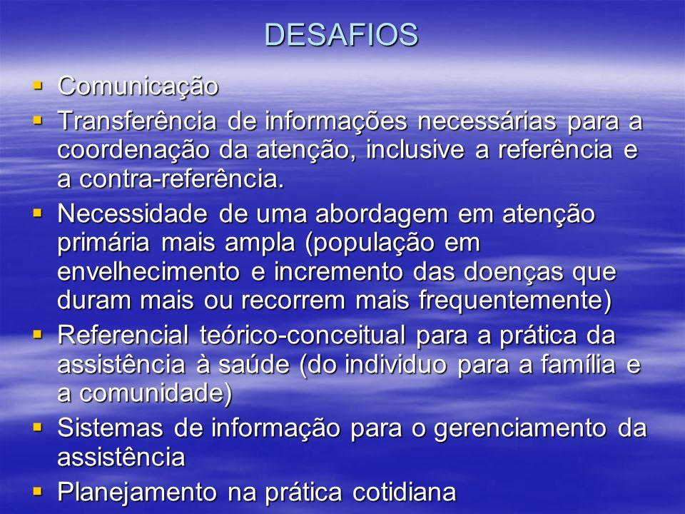 DESAFIOS Comunicação. Transferência de informações necessárias para a coordenação da atenção, inclusive a referência e a contra-referência.