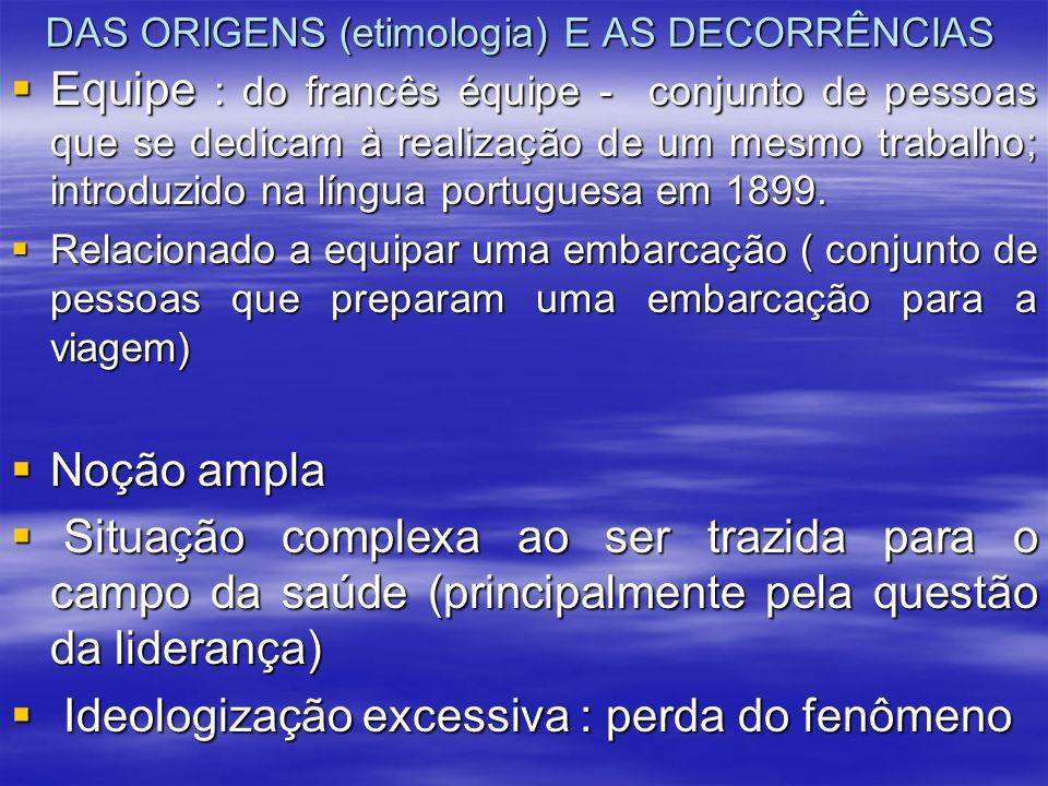 DAS ORIGENS (etimologia) E AS DECORRÊNCIAS