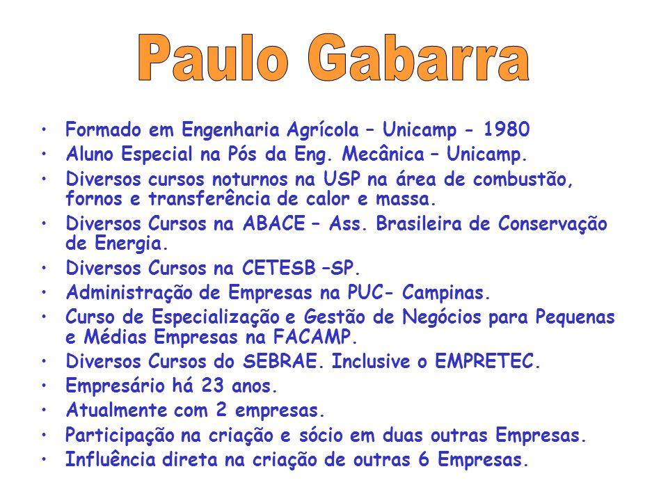 Paulo Gabarra Formado em Engenharia Agrícola – Unicamp - 1980