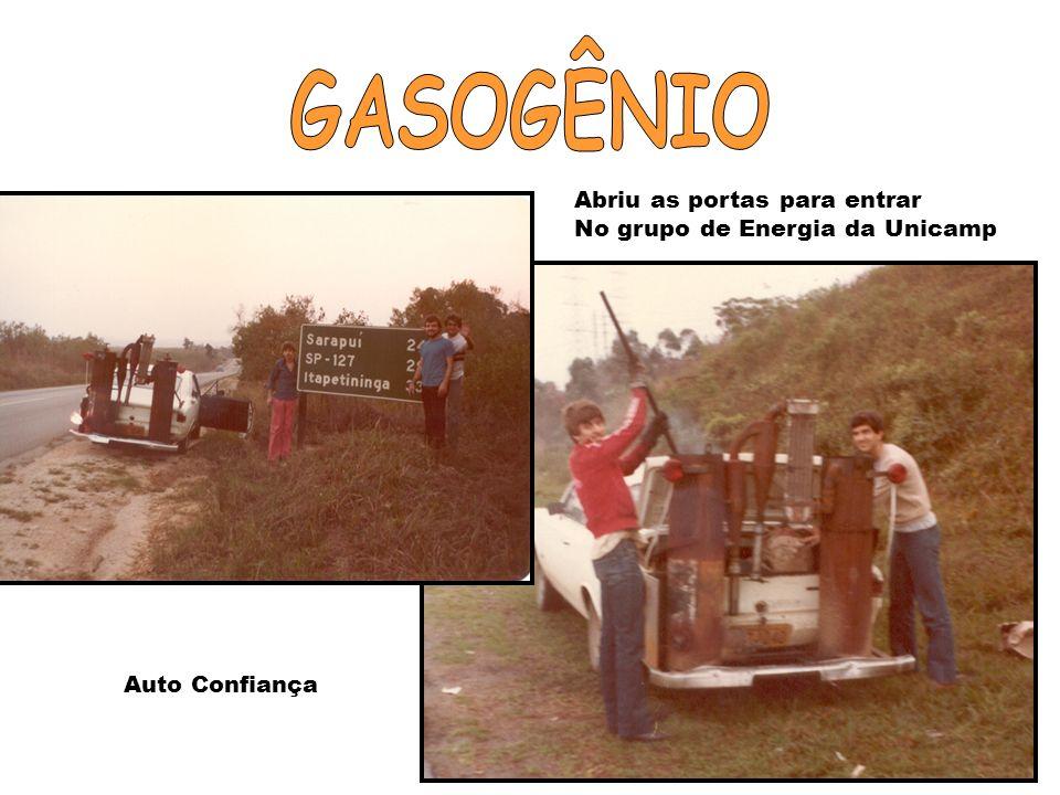 GASOGÊNIO Abriu as portas para entrar No grupo de Energia da Unicamp