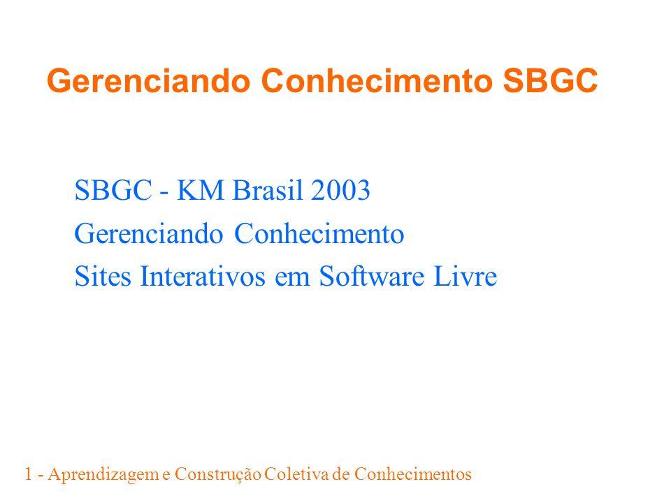 Gerenciando Conhecimento SBGC