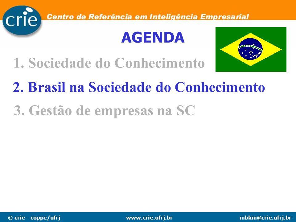 AGENDA Sociedade do Conhecimento 2. Brasil na Sociedade do Conhecimento 3. Gestão de empresas na SC