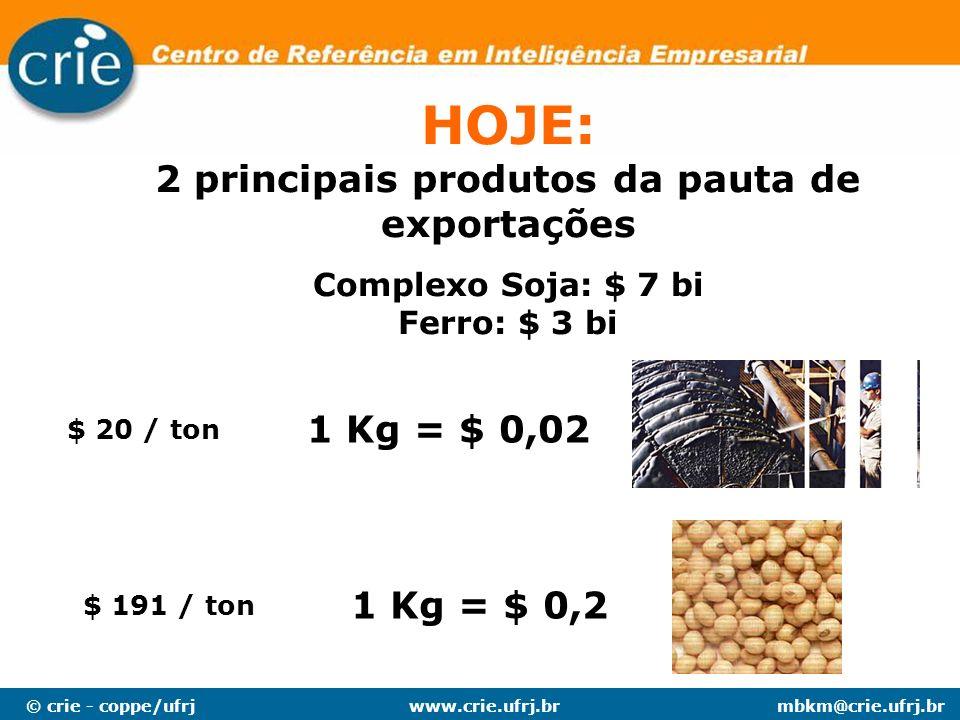 2 principais produtos da pauta de exportações
