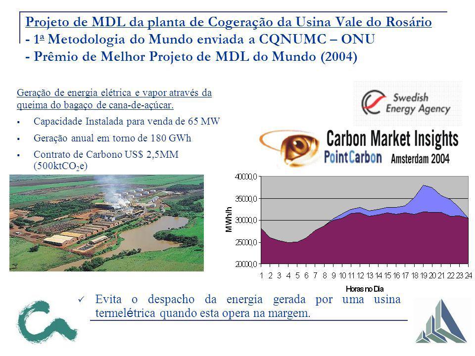 Projeto de MDL da planta de Cogeração da Usina Vale do Rosário - 1a Metodologia do Mundo enviada a CQNUMC – ONU - Prêmio de Melhor Projeto de MDL do Mundo (2004)