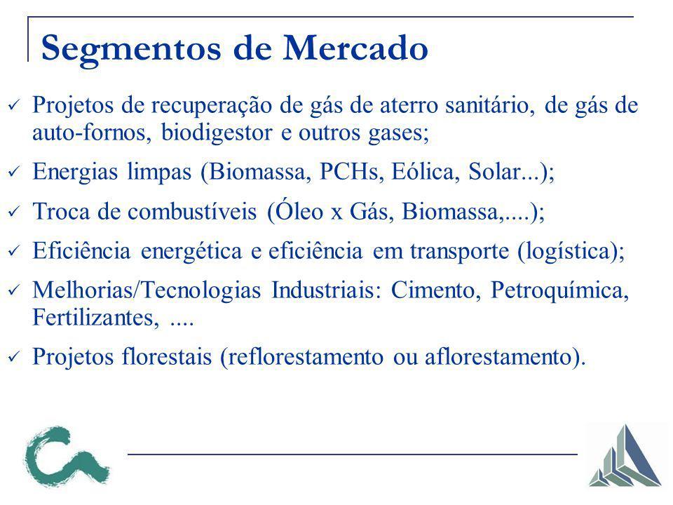 Segmentos de Mercado Projetos de recuperação de gás de aterro sanitário, de gás de auto-fornos, biodigestor e outros gases;
