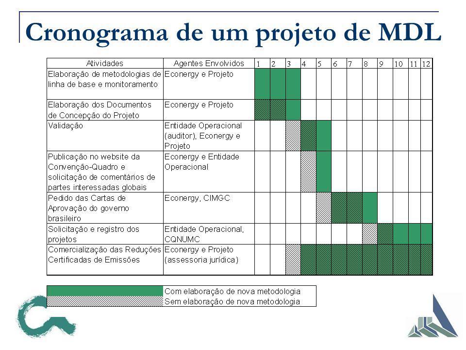 Cronograma de um projeto de MDL