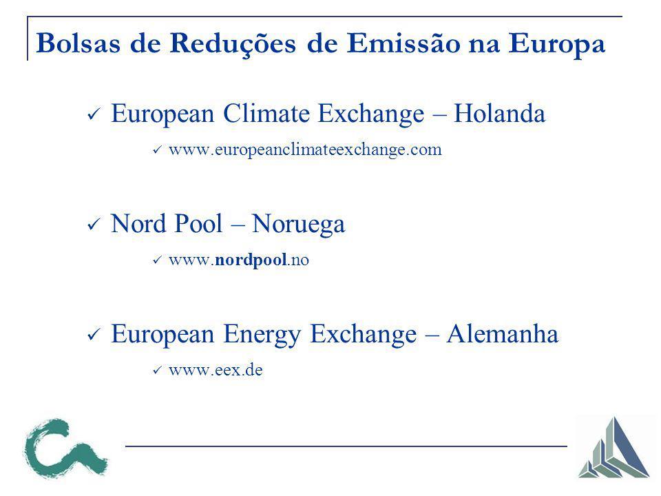 Bolsas de Reduções de Emissão na Europa