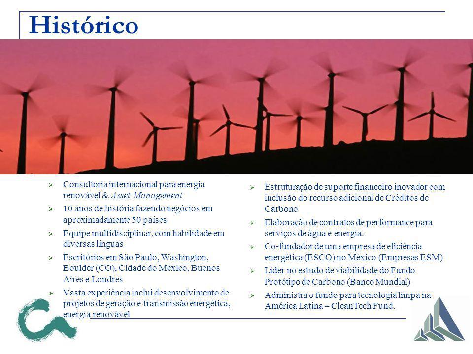 Histórico Consultoria internacional para energia renovável & Asset Management. 10 anos de história fazendo negócios em aproximadamente 50 países.