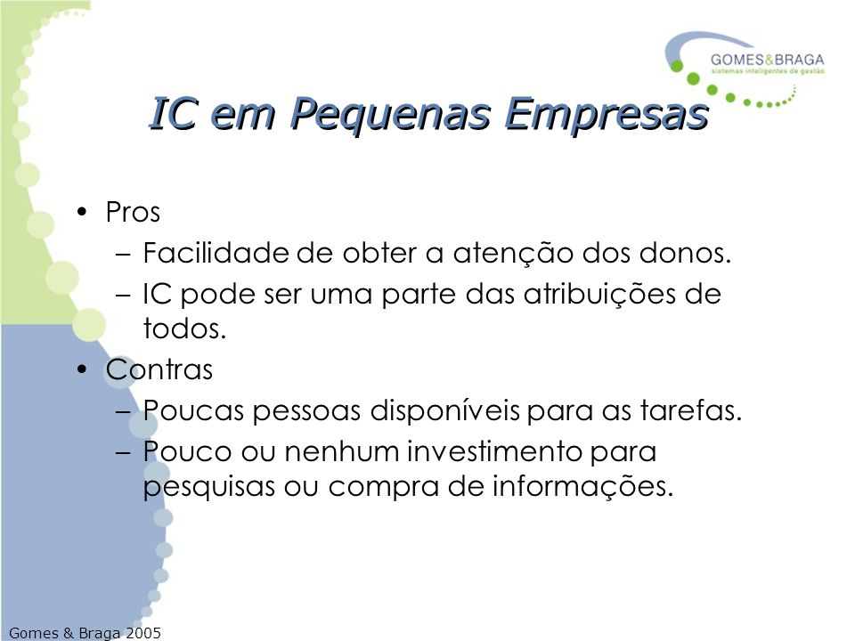IC em Pequenas Empresas