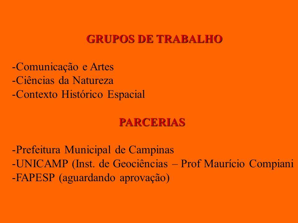 GRUPOS DE TRABALHO Comunicação e Artes. Ciências da Natureza. Contexto Histórico Espacial. PARCERIAS.