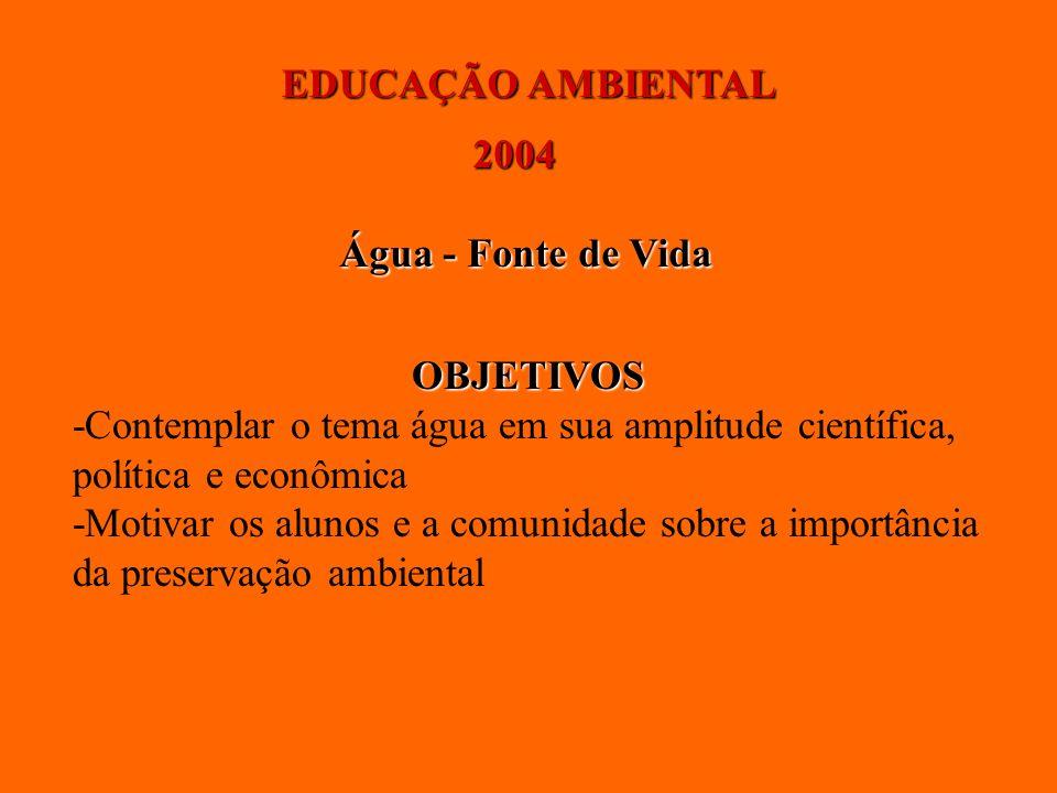 EDUCAÇÃO AMBIENTAL 2004. Água - Fonte de Vida. OBJETIVOS. -Contemplar o tema água em sua amplitude científica,