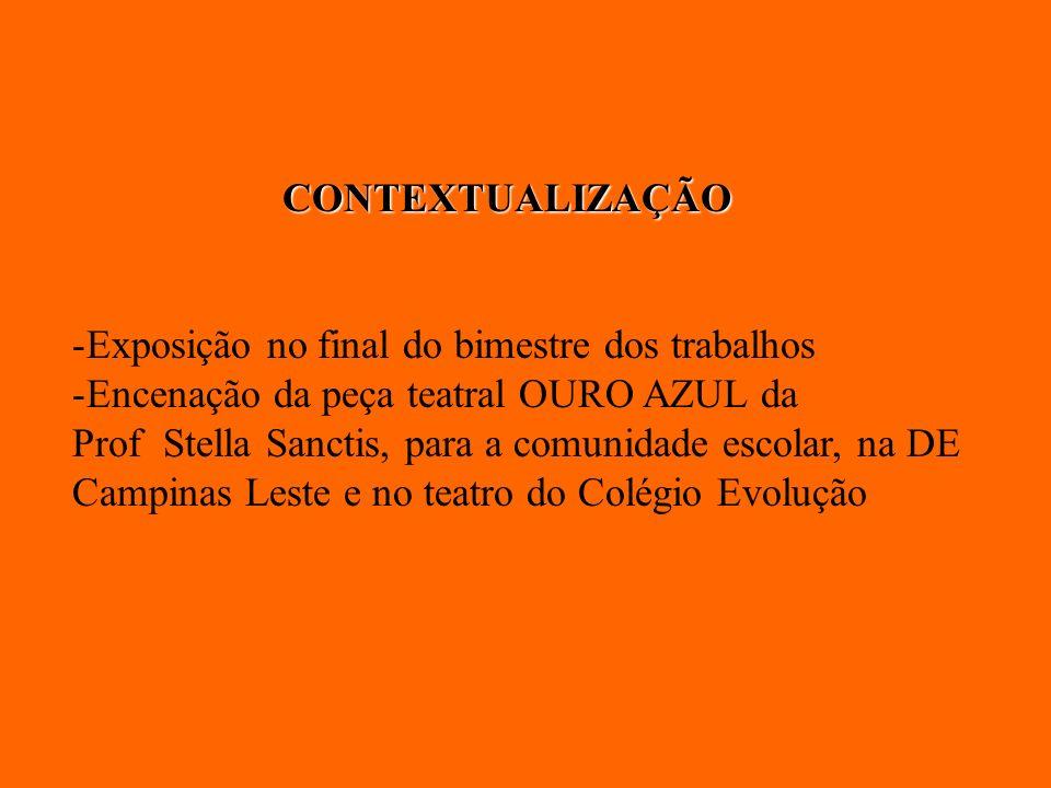 CONTEXTUALIZAÇÃO Exposição no final do bimestre dos trabalhos. Encenação da peça teatral OURO AZUL da.