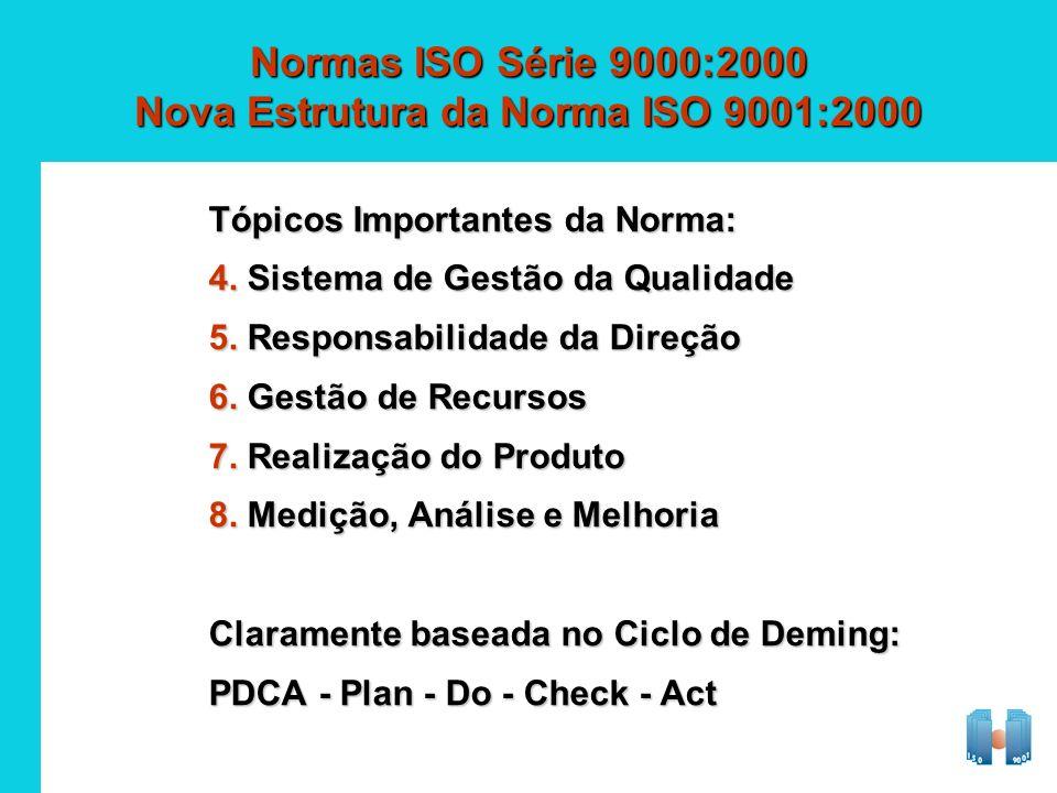 Normas ISO Série 9000:2000 Nova Estrutura da Norma ISO 9001:2000