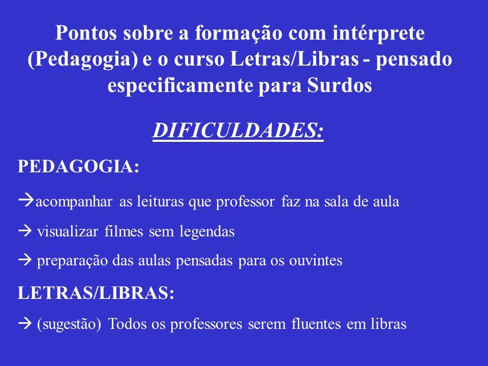 Pontos sobre a formação com intérprete (Pedagogia) e o curso Letras/Libras - pensado especificamente para Surdos