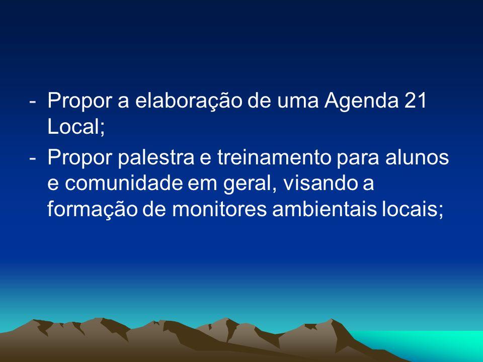 Propor a elaboração de uma Agenda 21 Local;