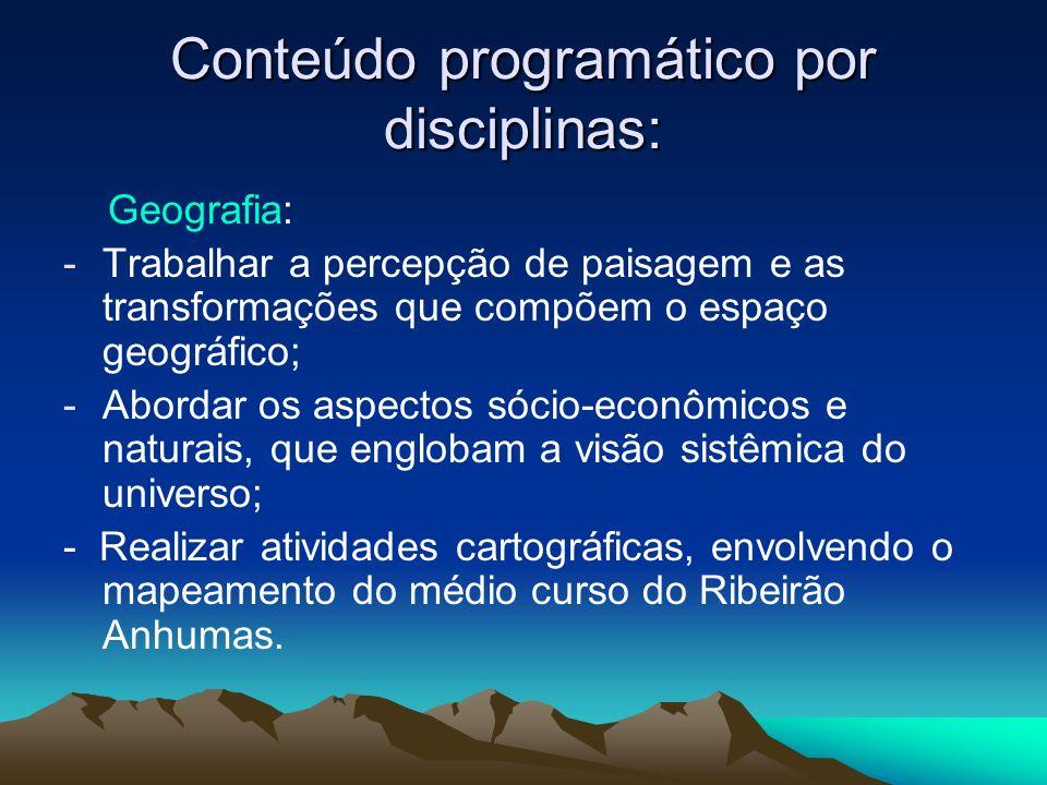 Conteúdo programático por disciplinas: