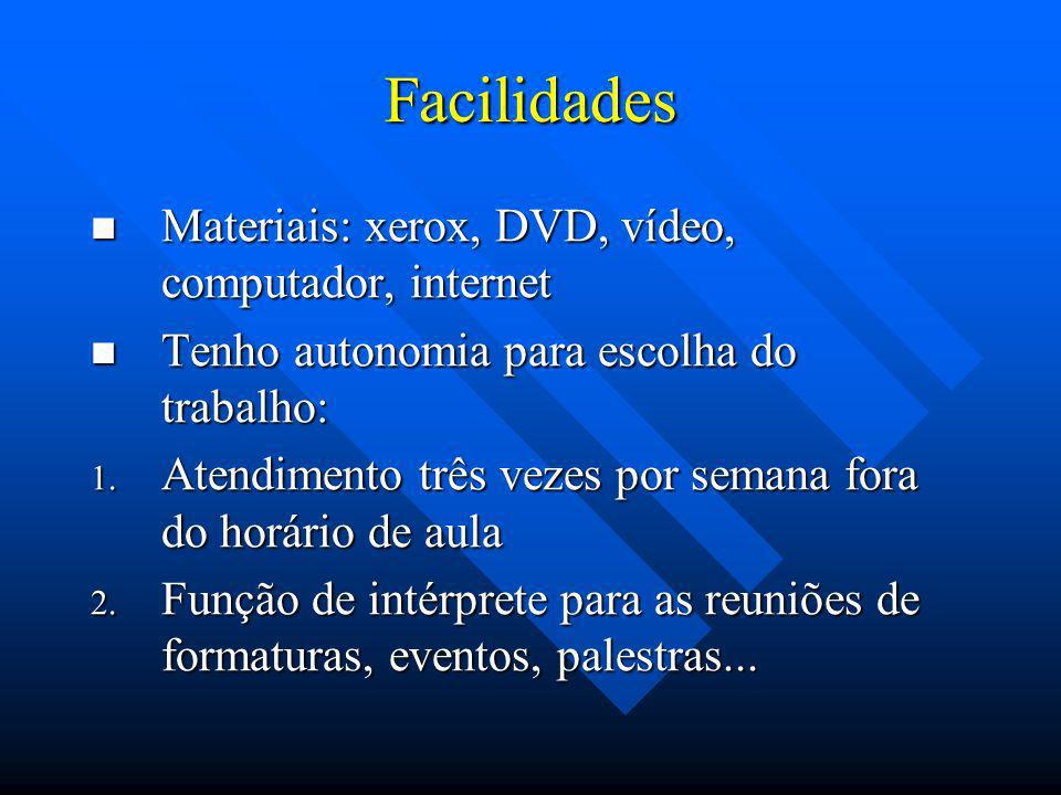 Facilidades Materiais: xerox, DVD, vídeo, computador, internet