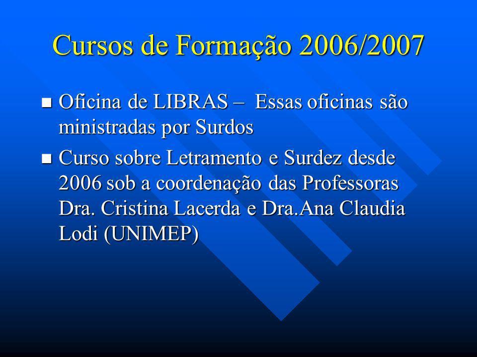 Cursos de Formação 2006/2007 Oficina de LIBRAS – Essas oficinas são ministradas por Surdos.