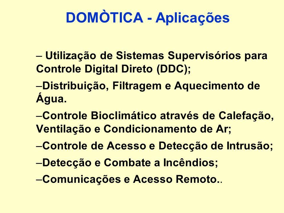 DOMÒTICA - AplicaçõesUtilização de Sistemas Supervisórios para Controle Digital Direto (DDC); Distribuição, Filtragem e Aquecimento de Água.