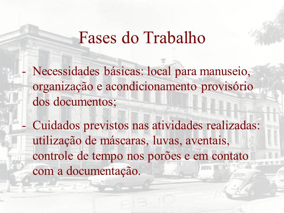 Fases do Trabalho Necessidades básicas: local para manuseio, organização e acondicionamento provisório dos documentos;