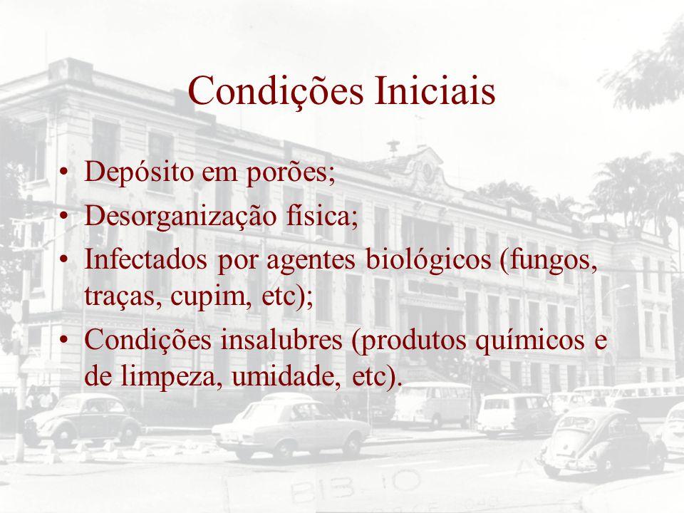 Condições Iniciais Depósito em porões; Desorganização física;