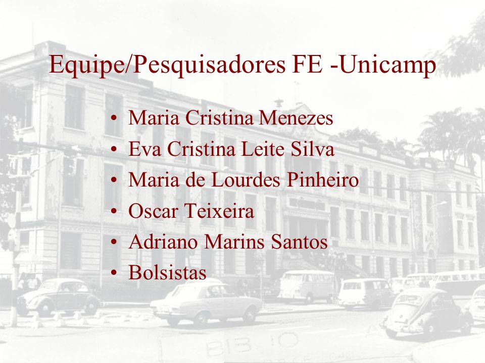 Equipe/Pesquisadores FE -Unicamp