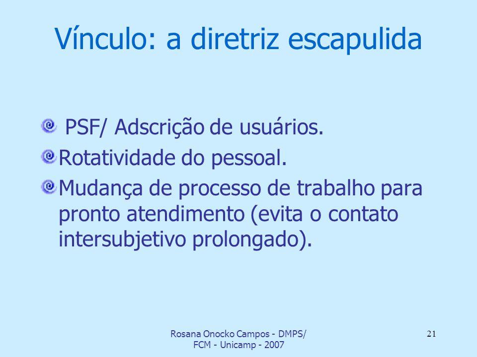 Vínculo: a diretriz escapulida