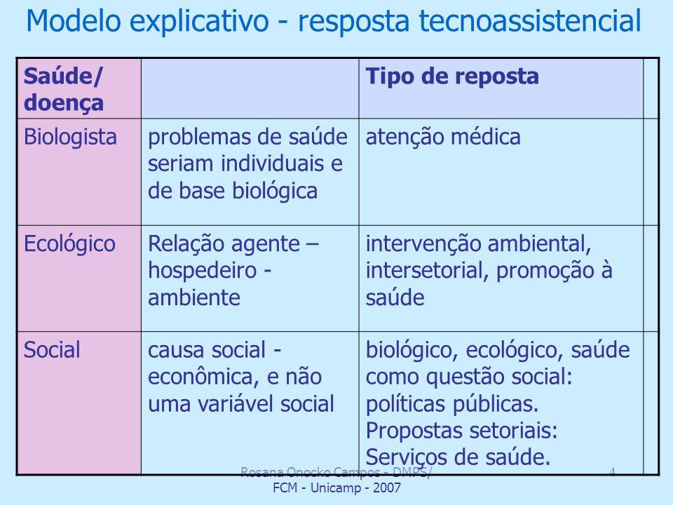 Modelo explicativo - resposta tecnoassistencial