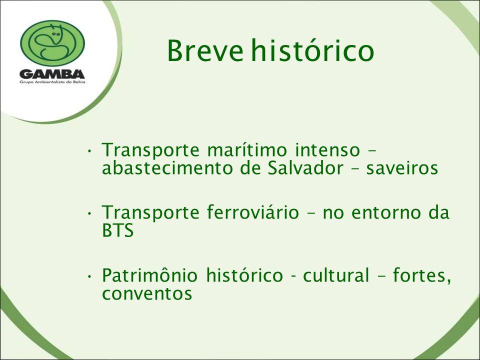 Breve histórico Transporte marítimo intenso – abastecimento de Salvador – saveiros. Transporte ferroviário – no entorno da BTS.