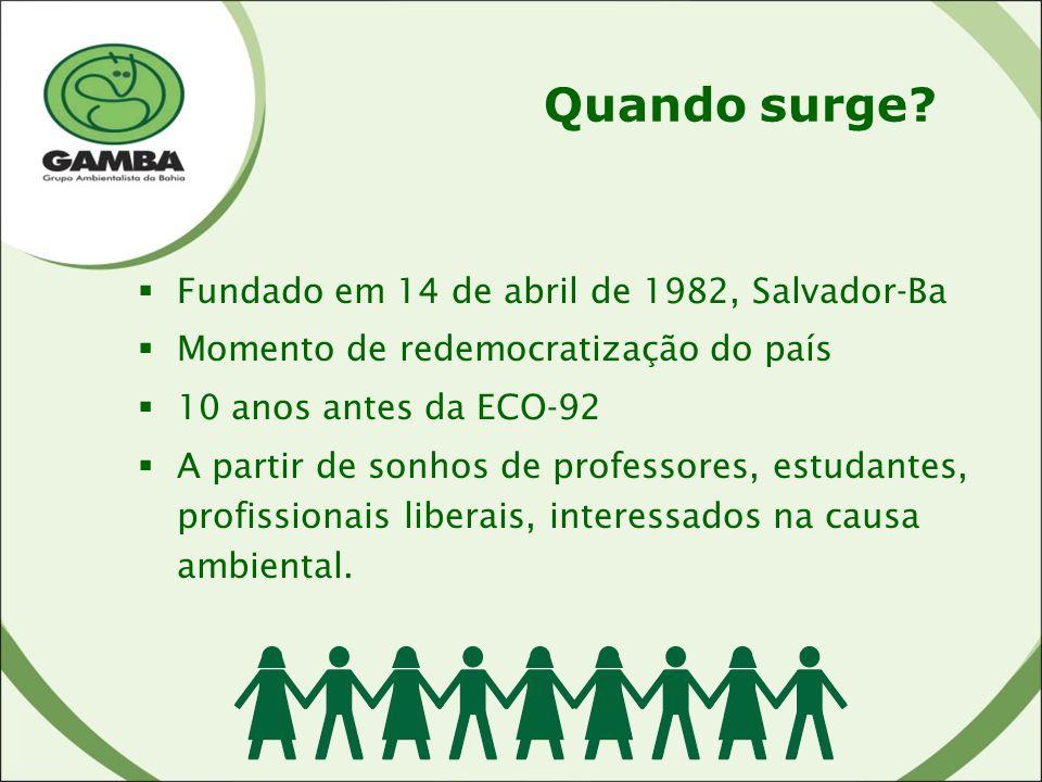 Quando surge Fundado em 14 de abril de 1982, Salvador-Ba