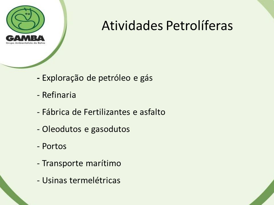 Atividades Petrolíferas