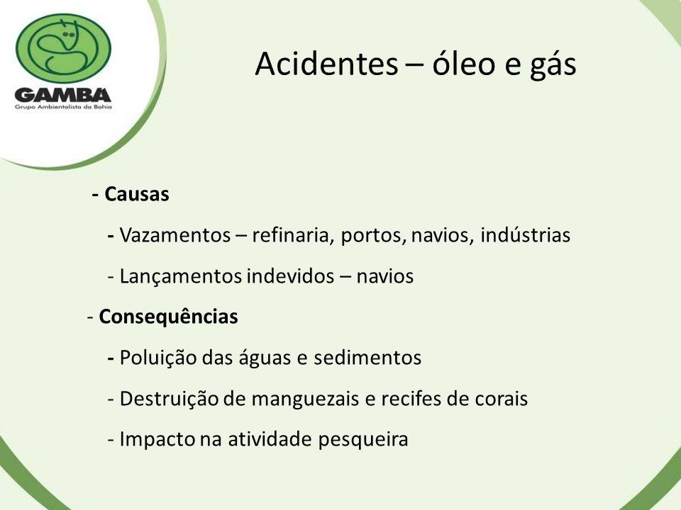 Acidentes – óleo e gás - Causas