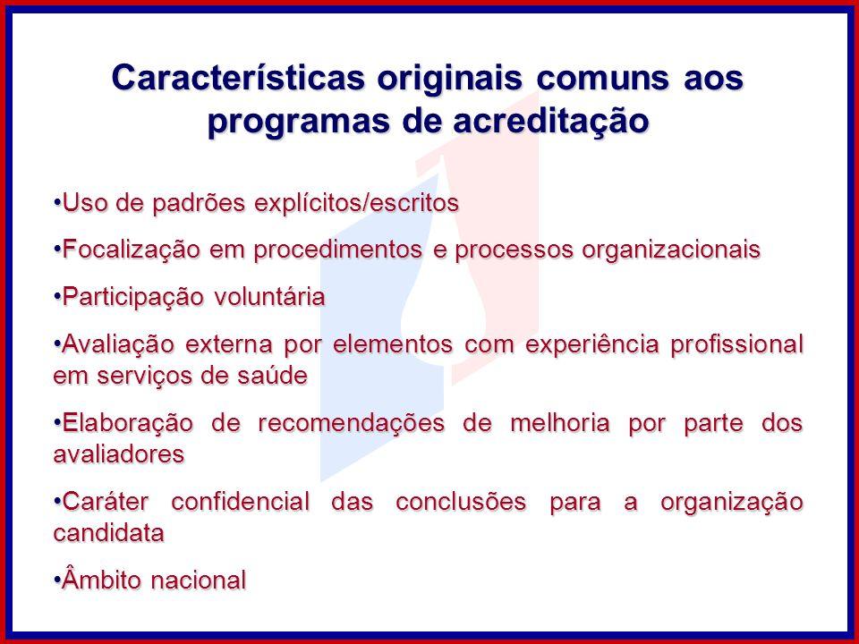 Características originais comuns aos programas de acreditação
