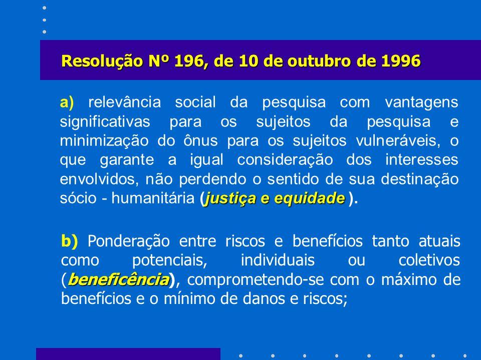 Resolução Nº 196, de 10 de outubro de 1996
