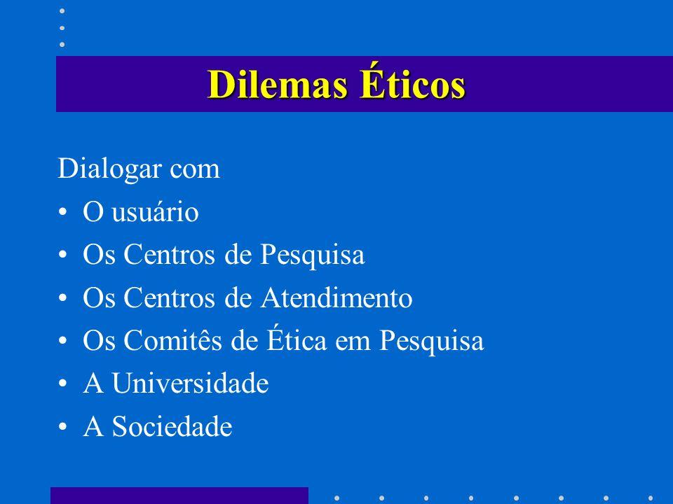 Dilemas Éticos Dialogar com O usuário Os Centros de Pesquisa