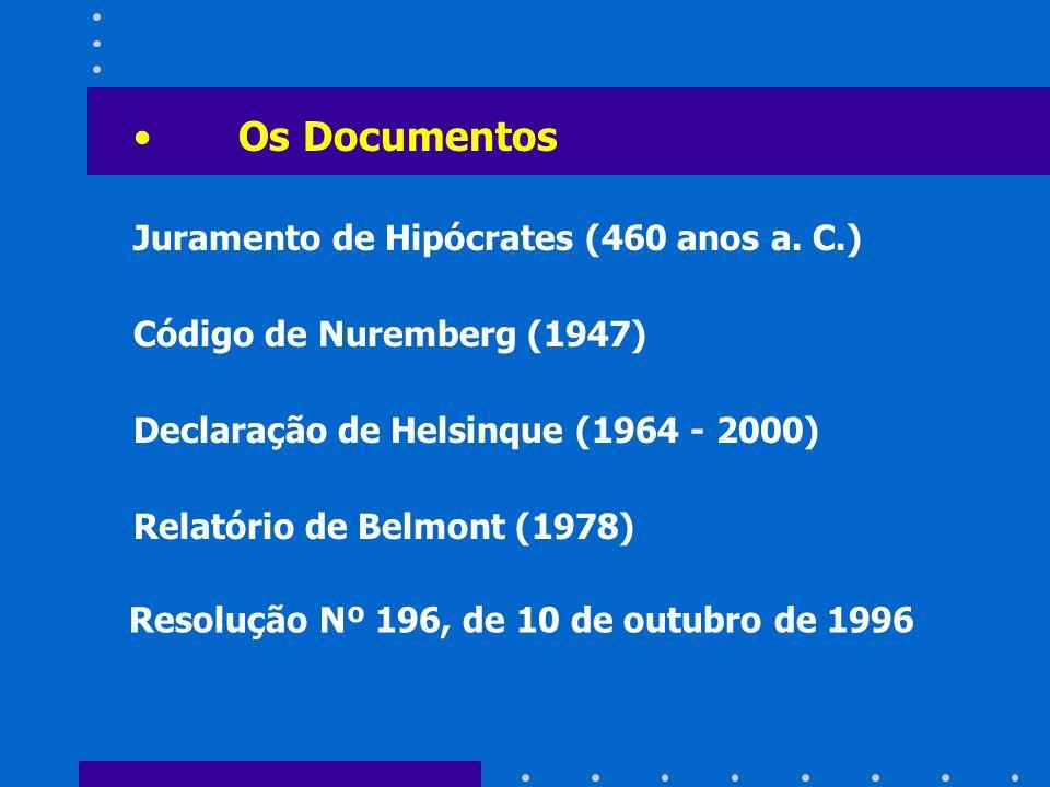 Os Documentos Juramento de Hipócrates (460 anos a. C.)