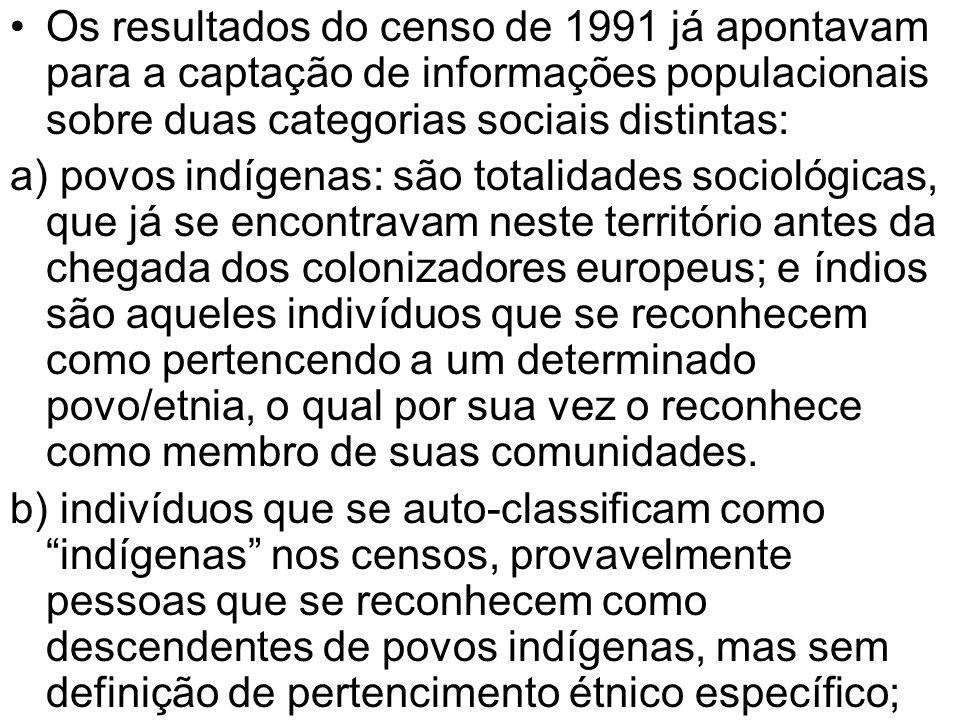 Os resultados do censo de 1991 já apontavam para a captação de informações populacionais sobre duas categorias sociais distintas: