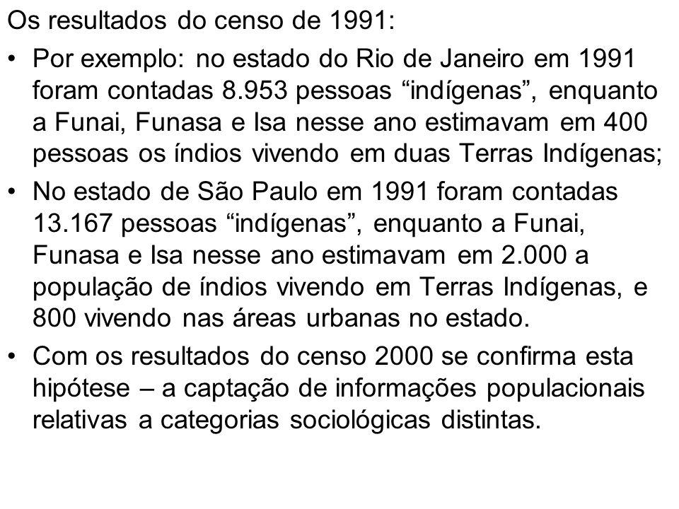 Os resultados do censo de 1991: