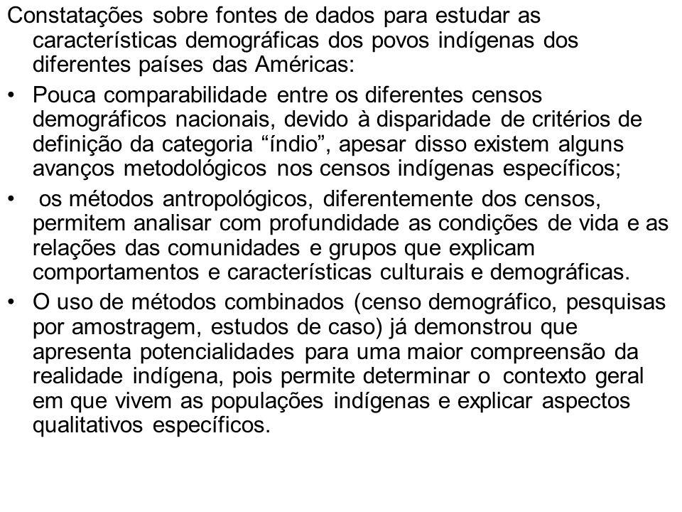 Constatações sobre fontes de dados para estudar as características demográficas dos povos indígenas dos diferentes países das Américas: