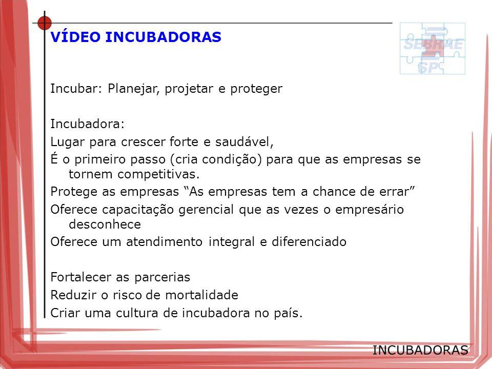 VÍDEO INCUBADORAS Incubar: Planejar, projetar e proteger Incubadora: