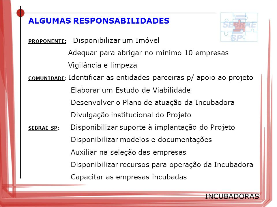 ALGUMAS RESPONSABILIDADES