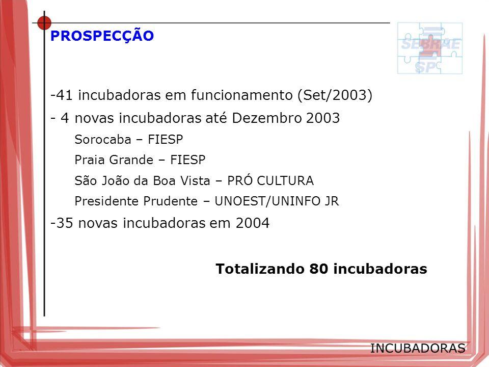 PROSPECÇÃO 41 incubadoras em funcionamento (Set/2003)