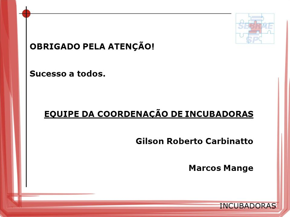 OBRIGADO PELA ATENÇÃO! Sucesso a todos. EQUIPE DA COORDENAÇÃO DE INCUBADORAS. Gilson Roberto Carbinatto.
